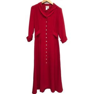 Coldwater Creek Red  Maxi 3/4 Sleeve Shirt Dress